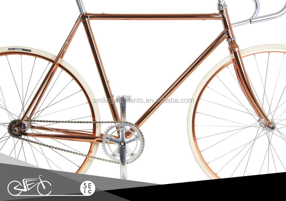 Taiwan 700C Classic Electroplating Lugged Bike Frame Rose Golden Bicycle Frame