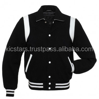 Retro Shoulder Insert Style All Wool Varsity Jacket