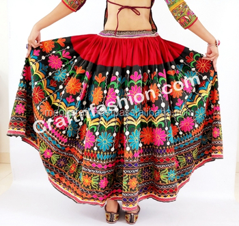 5dbe9f00335532 Vintage Rabari Ghagra with Kutchi hand embroidery- Vintage Banjara Skirt  -Belly Dance Skirt -