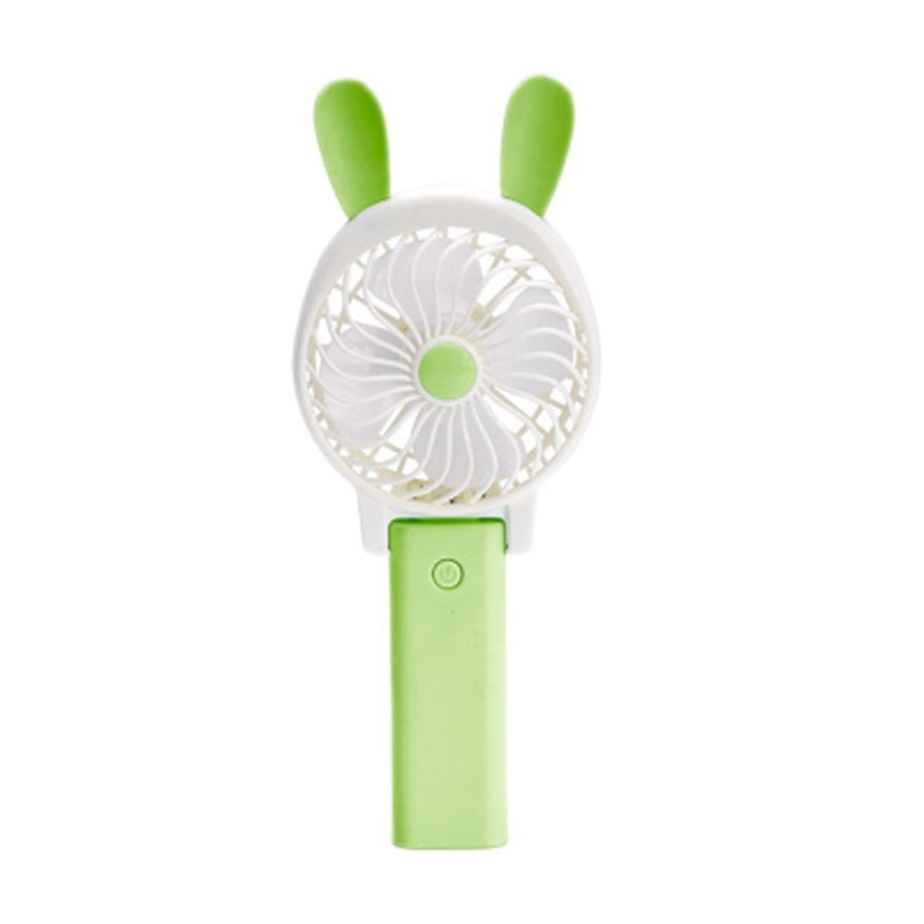 YOLOPLUS Mini Multipurpose Collapsible Portable Fan Clip Fan Desktop Fan Handheld Fan Outdoor Fan with Rechargeable Battery For Home and Travel (Rabbit Ear Green)