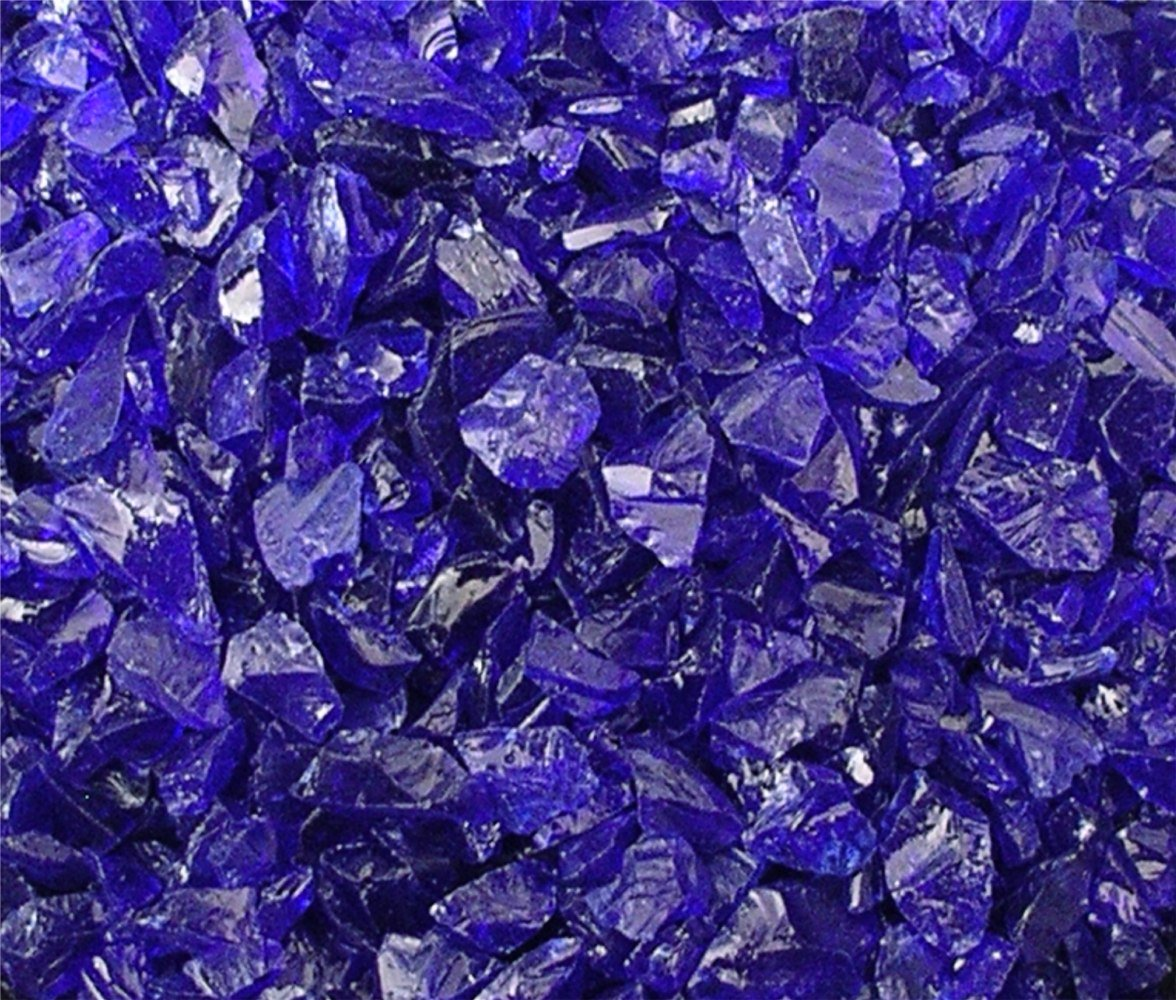 """Fireglass Fireplace Fire Pit Glass, ~1/2"""" Cobalt Glass Rocks, 12 LBS"""