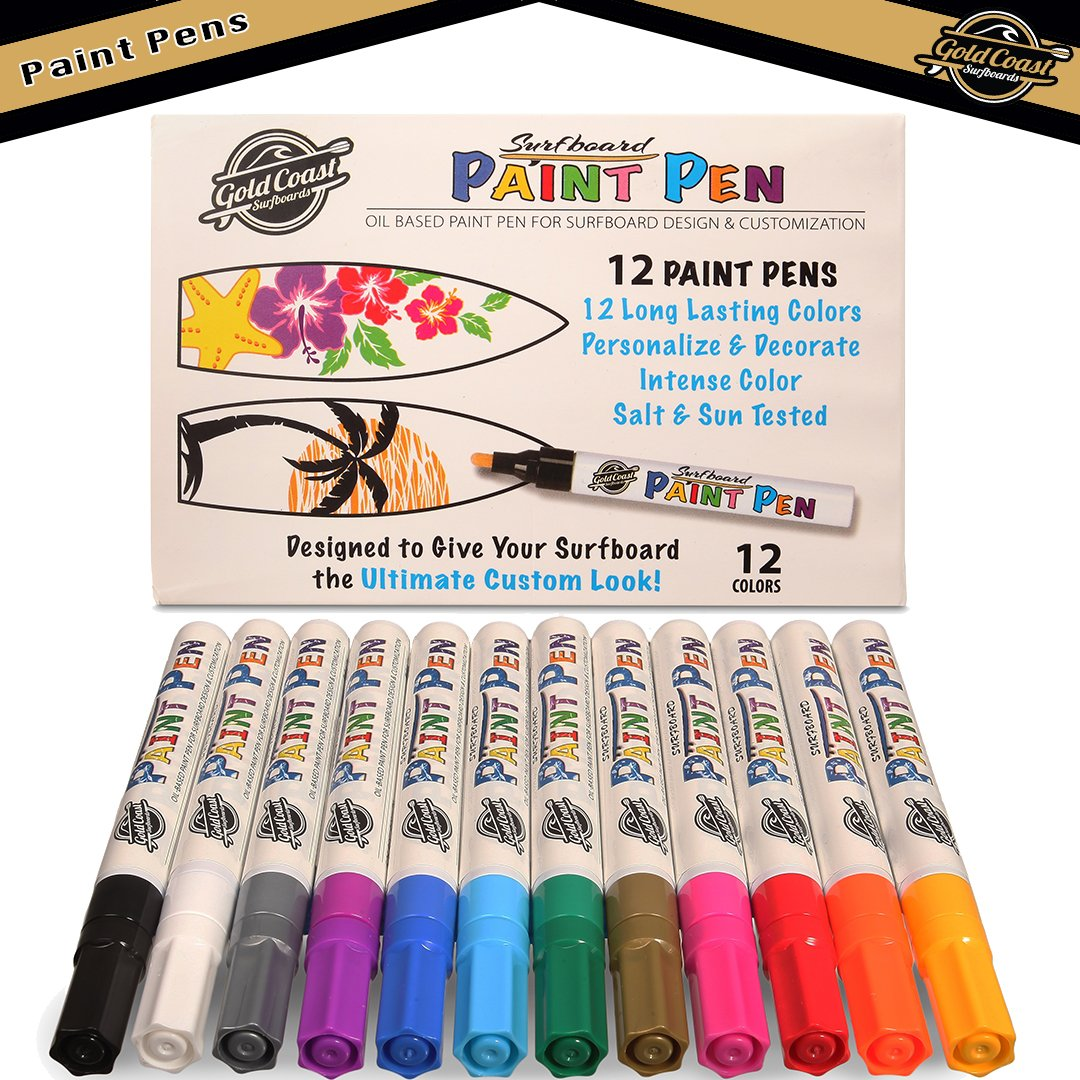 SBBC - Outdoor Paint Pens - || Water & Weather Resistant Paint Markers || - Write on ANYTHING - Surfboard Paint Pens | 12 Oil-Based, Vibrant, Long Lasting Paint Pen Colors [Multiple Material Applicati