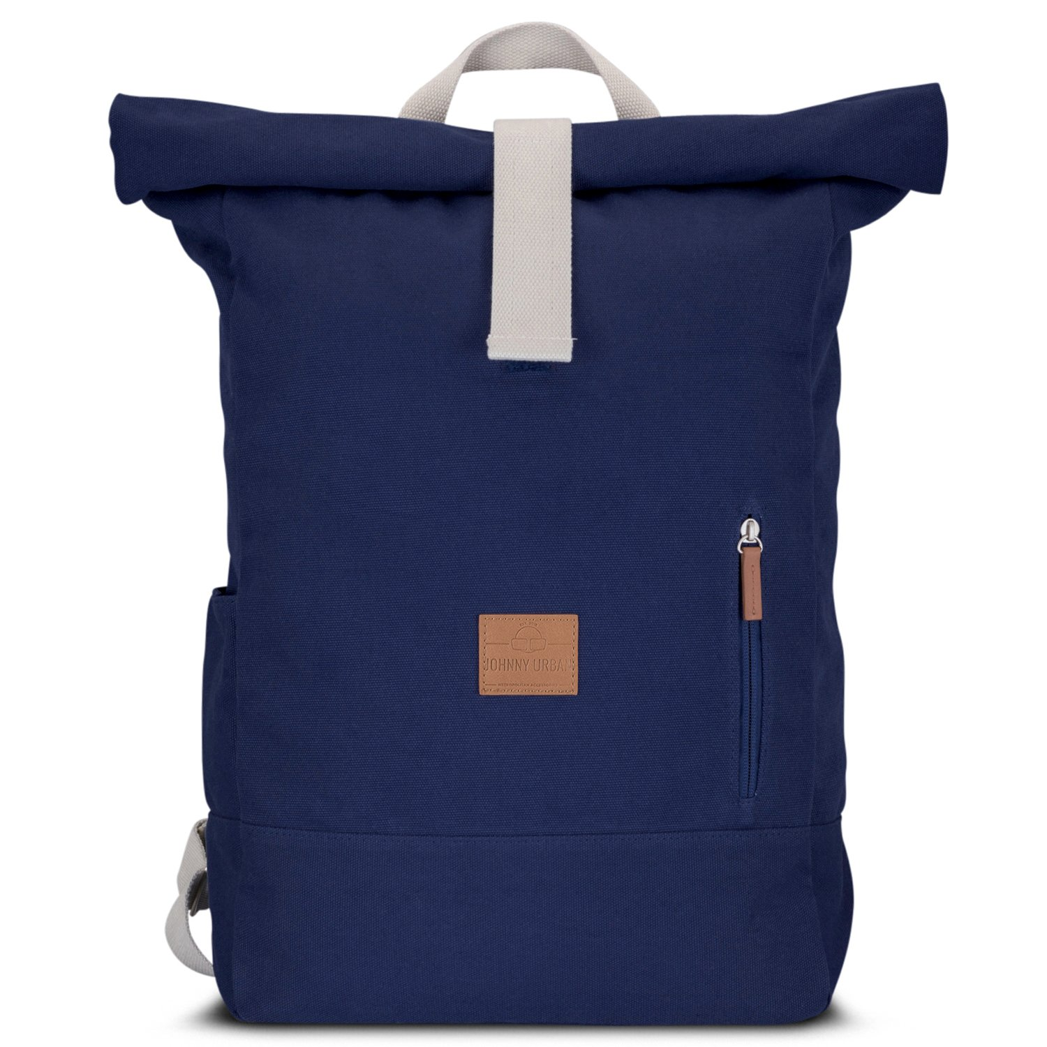 Get Quotations · Canvas Backpack Men   Women Black - JOHNNY URBAN Cotton    Vegan Leather Roll Top Daypack edafb2db2e123