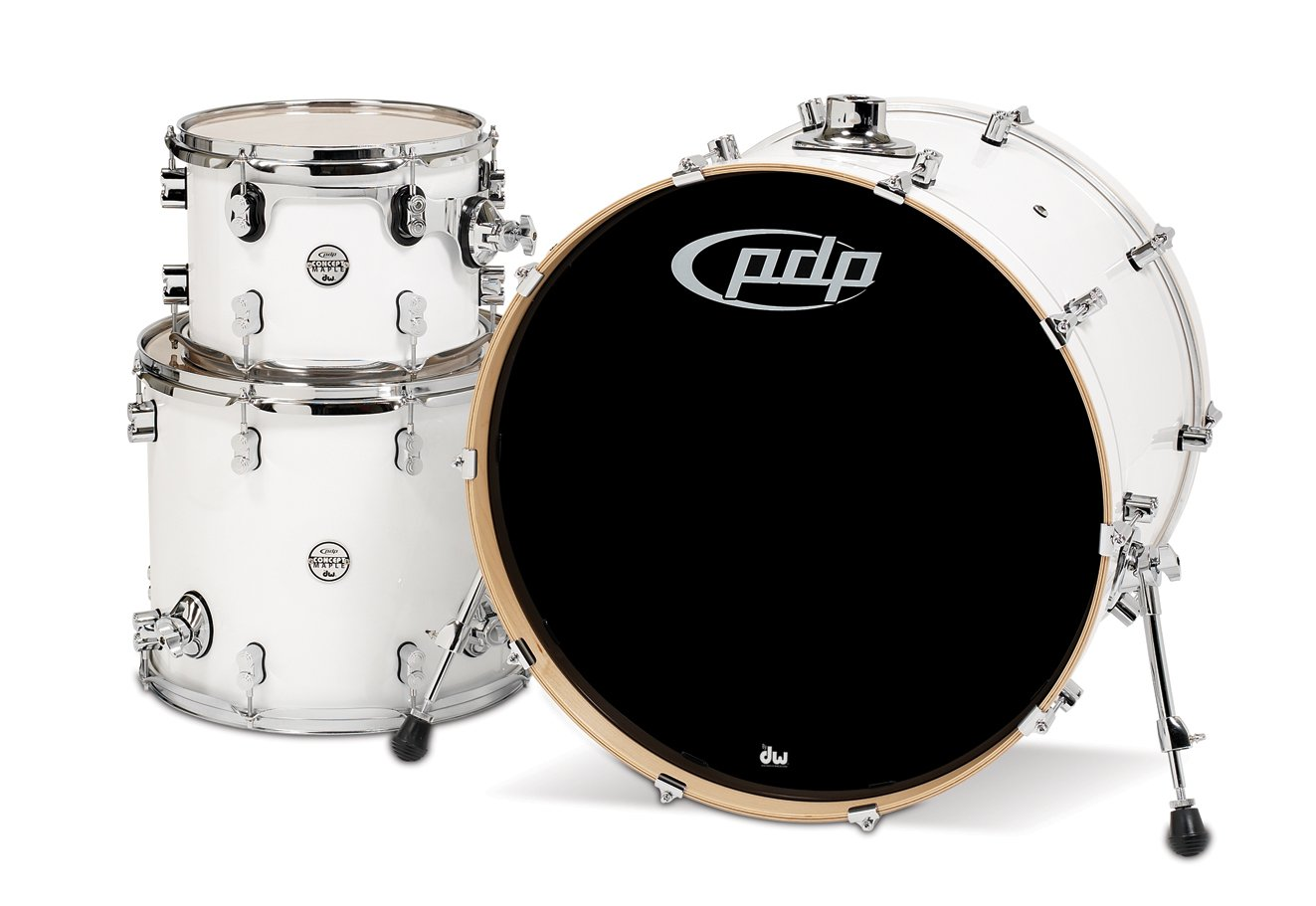 Pacific Drums PDCM2413PW 3-Piece Drumset with Chrome Hardware - Pearlescent White