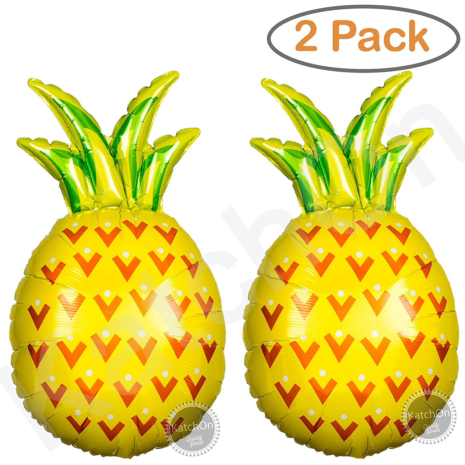 Giant Pineapple Helium Balloons Decorations - 2ct. Pineapple Decor for Pineapple Party Decorations   Luau Balloons   Pineapple Balloon Party Supplies   Fruit Balloons   Helium Supported 32 Inch