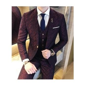 Fashion Formal Dress Top Groom Coat 3 Piece Coat Pant Men Suit