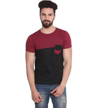 Wholesale Custom mens red black panel Crew Neck T-shirts