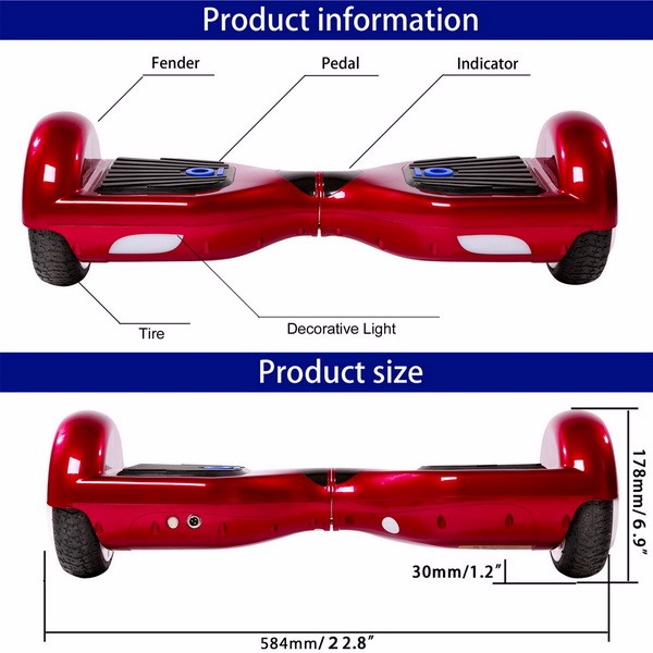 Bluetooth EU plug 2 wheel self balancing electric scooter for sale with LG battery plum round wheel 6.5 Inch Ancheer AM002728