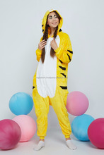 Yellow Tiger Adult Pajamas With Butt Flap Pockets Kigurumi Plush Onesie Hooded Animal Cosplay Costume Onsie Jumpsuit Home
