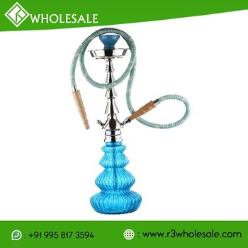21 Inch Tall Glass Smoking Hookah With Metal Plate Ash Catcher And Ceramic Bowl Wholesale