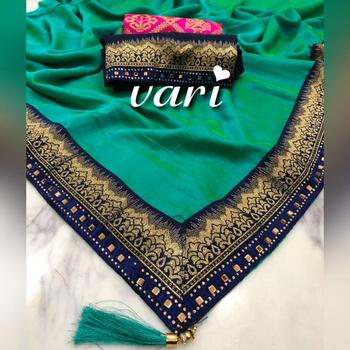 Traditional Wear Saree with Marble silk Fabric with fancy Lace border And tassels Saree