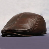 Men Genuine Leather baseball Cap Hat winter warm caps hats with ears