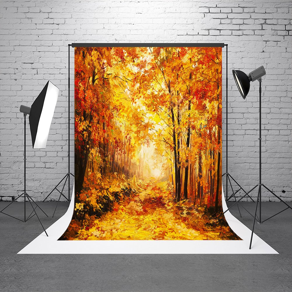 Kate 5X7ft (150cmX220cm) Autumn Golden Photography Background Backdrops for Photographers with Pocket for Children Booth Props