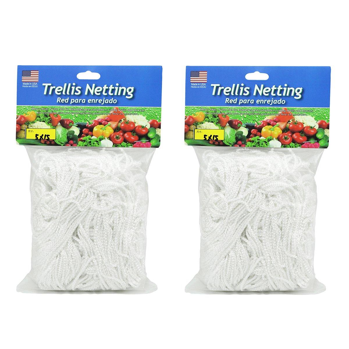 HiHydro Trellis Netting Heavy-Duty Nylon Tangle-Free White Garden Netfor Climbing, Fruits, Vegetables and Flowers (2-Pack 5'x15')