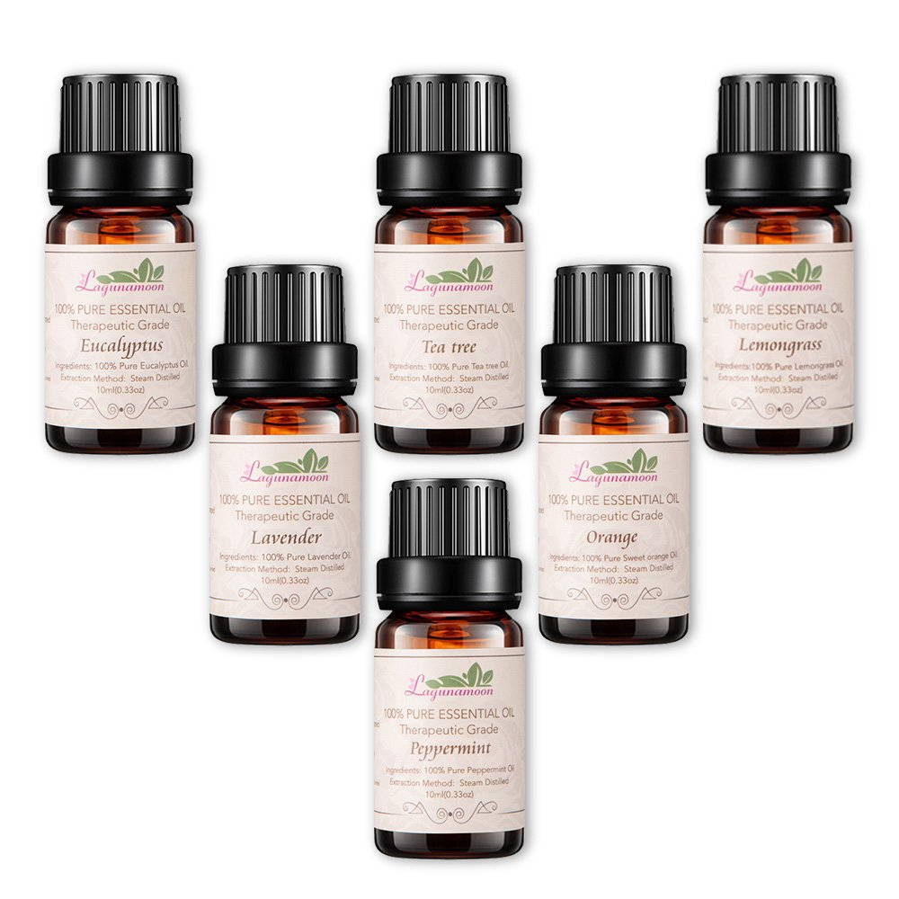 Lagunamoon Essential Oils,Top 6 Essential Oil Gift Set Pure Natural Therapeutic Grade Oils -Lavender,Tea Tree, Eucalyptus,Lemongrass,Orange, Peppermint
