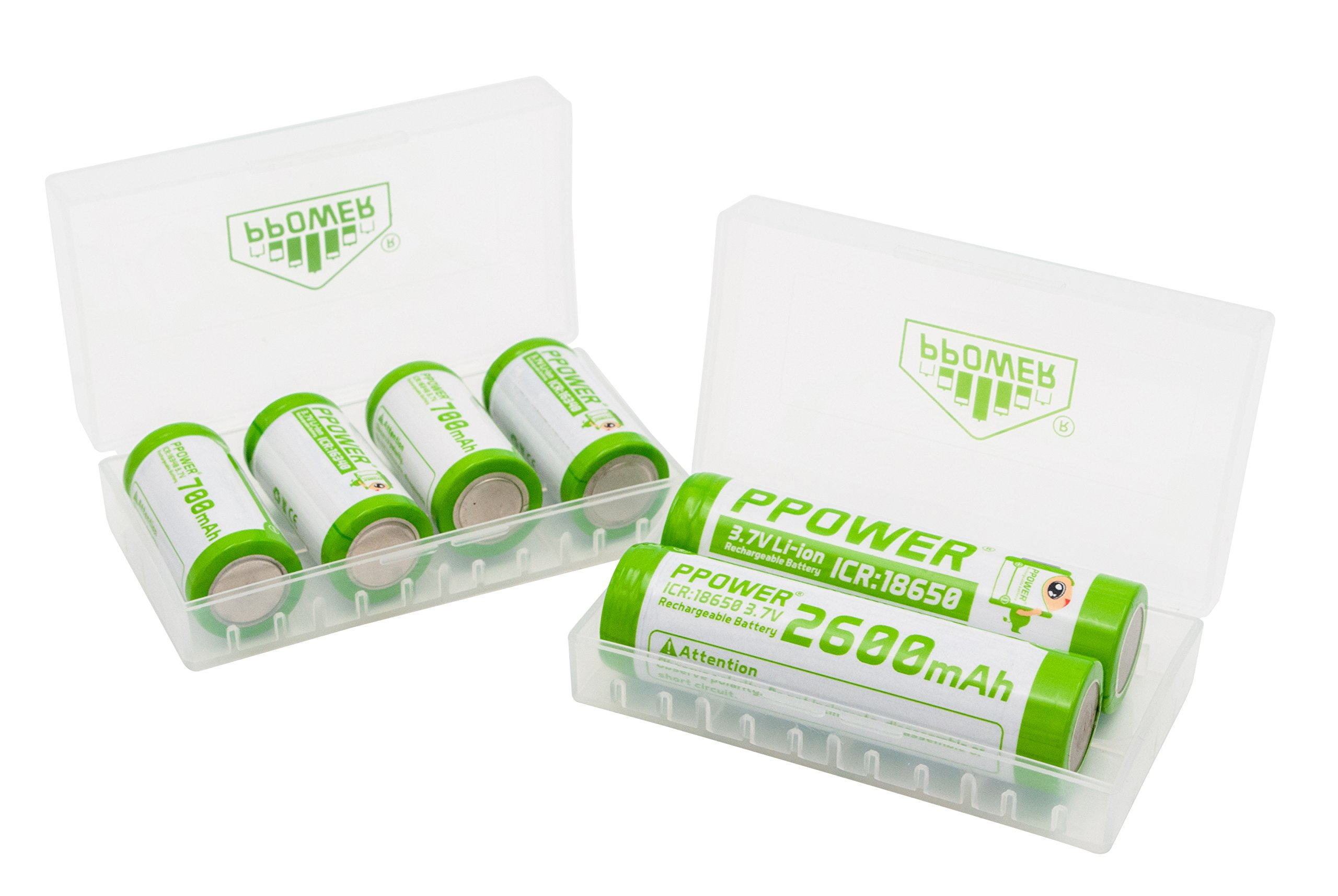 2X Ppower battery box, storage box, for 4x 18650, 8x 16340, 17500, 17650 batteries, battery case (batteries are not included) P-Power