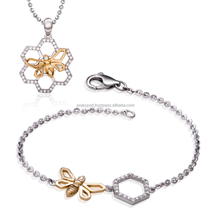 High Quality Swing Of Nature Collection 925 Silver Jewelry Set Inlcuding Bracelet And Pendant- PNJ brand - Vietnam
