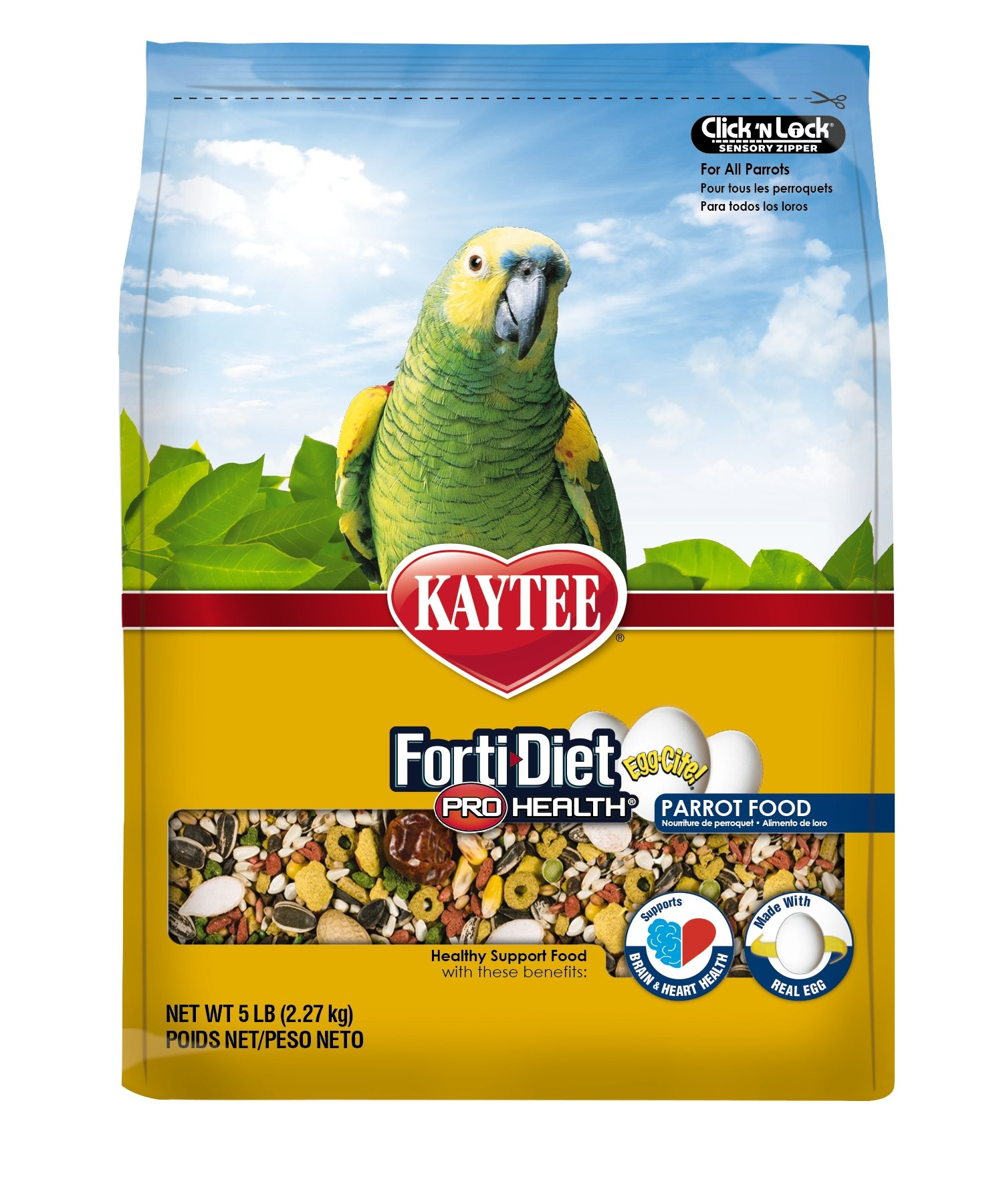 Kaytee Forti Diet Egg-Cite Bird Food for Parrots, 5-Pound Bag