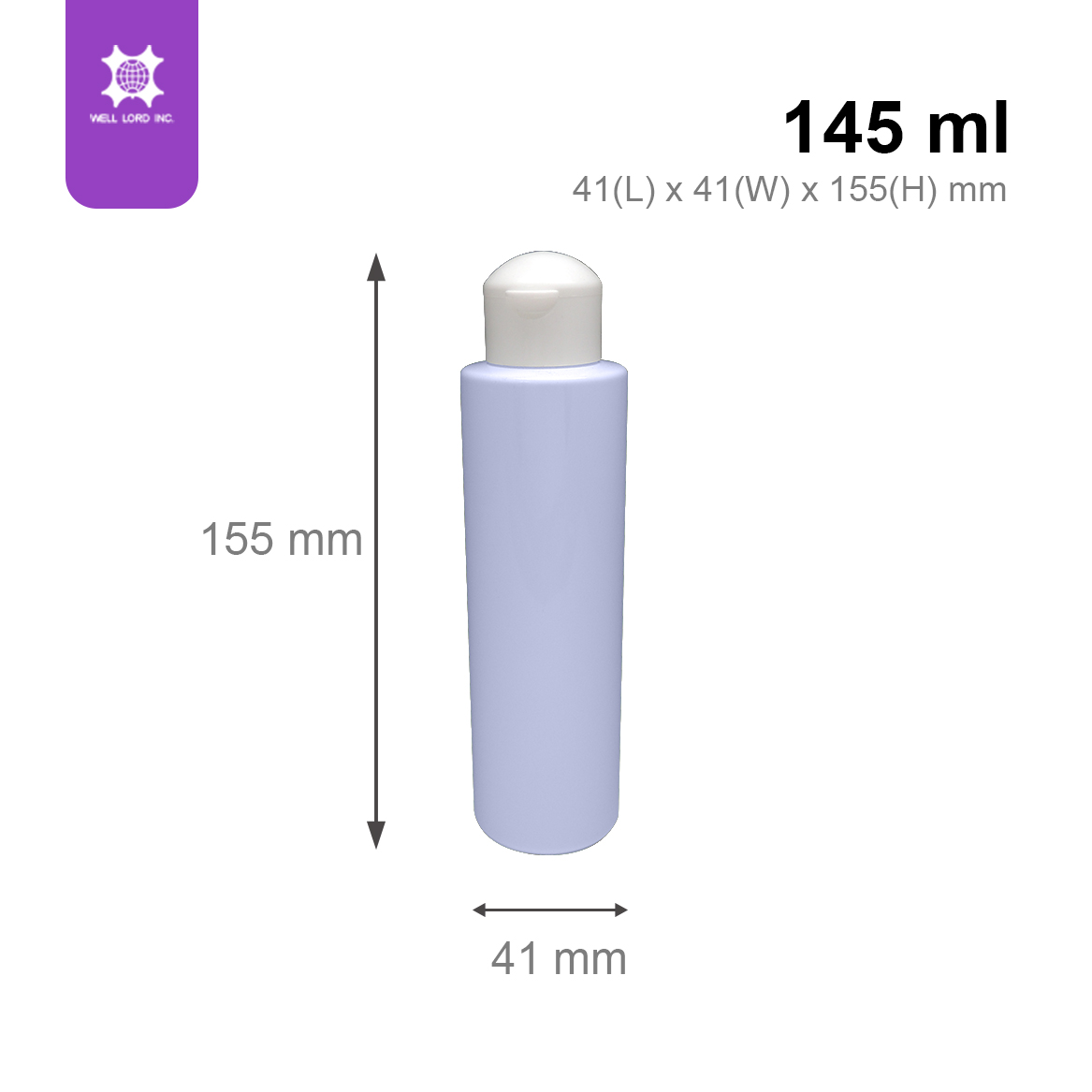 Elegant cornflower blue mushroom shape 145 ml plastic bottle with caps