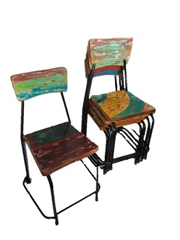 Beau Vintage Rustic Recycled Furniture Iron And Wood Stacking Chair Wooden Top  Industrial
