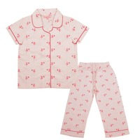 Crayonflakes Kids Wear For Girls Printed Night Suit Sleep Set Pink