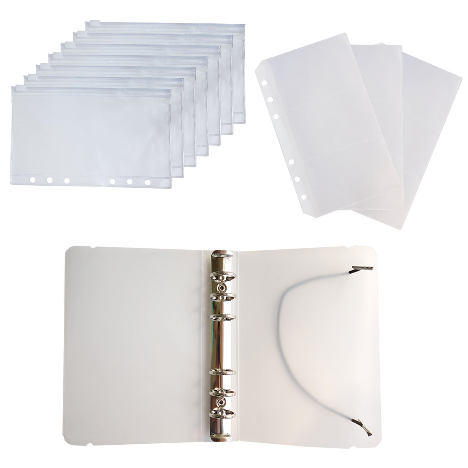 D-worthy 7 pcs Translucent Plastic A6 Size Ziplock Envelope Case Bill Pouch 3 pcs Pockets Name Card Bag with 1pcs 6 Hole Round Ring Binder Cover