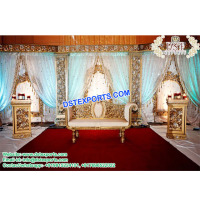 Unique Style Wedding Stage Australia, Asian Wedding Glittering Stage Set, Marriage Decoration Manufacturer
