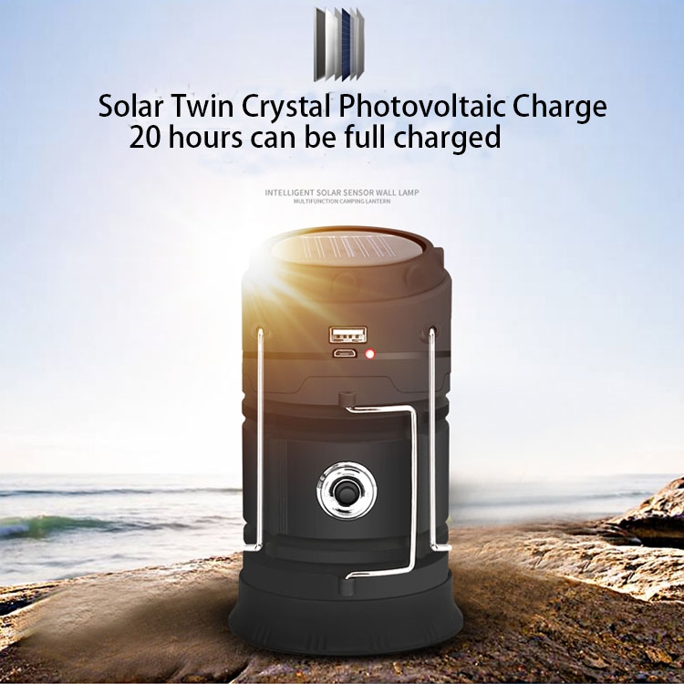 Rechargeable And Solar Charged Lantern Outdoor LED Camping Light With Power Bank