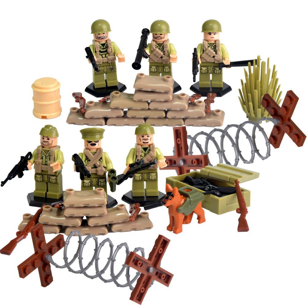 Rikuzo Mini World War II Series US Army Figures Brothers Team Marine Corps With Battlefield Weapons Accessories 100% Compatible Building Blocks Toys Set