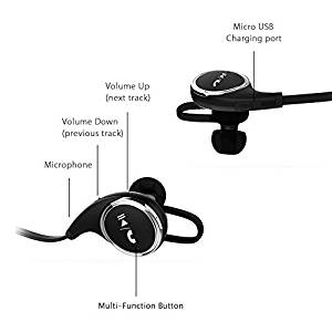 MMOBIEL Bluetooth Headphones V4.1 Wireless Stereo Hi-Fi Sound In-Ear Noise Cancelling Sport Earbuds Incl. Microphone/APT-X for Bluetooth Smartphones (Black)