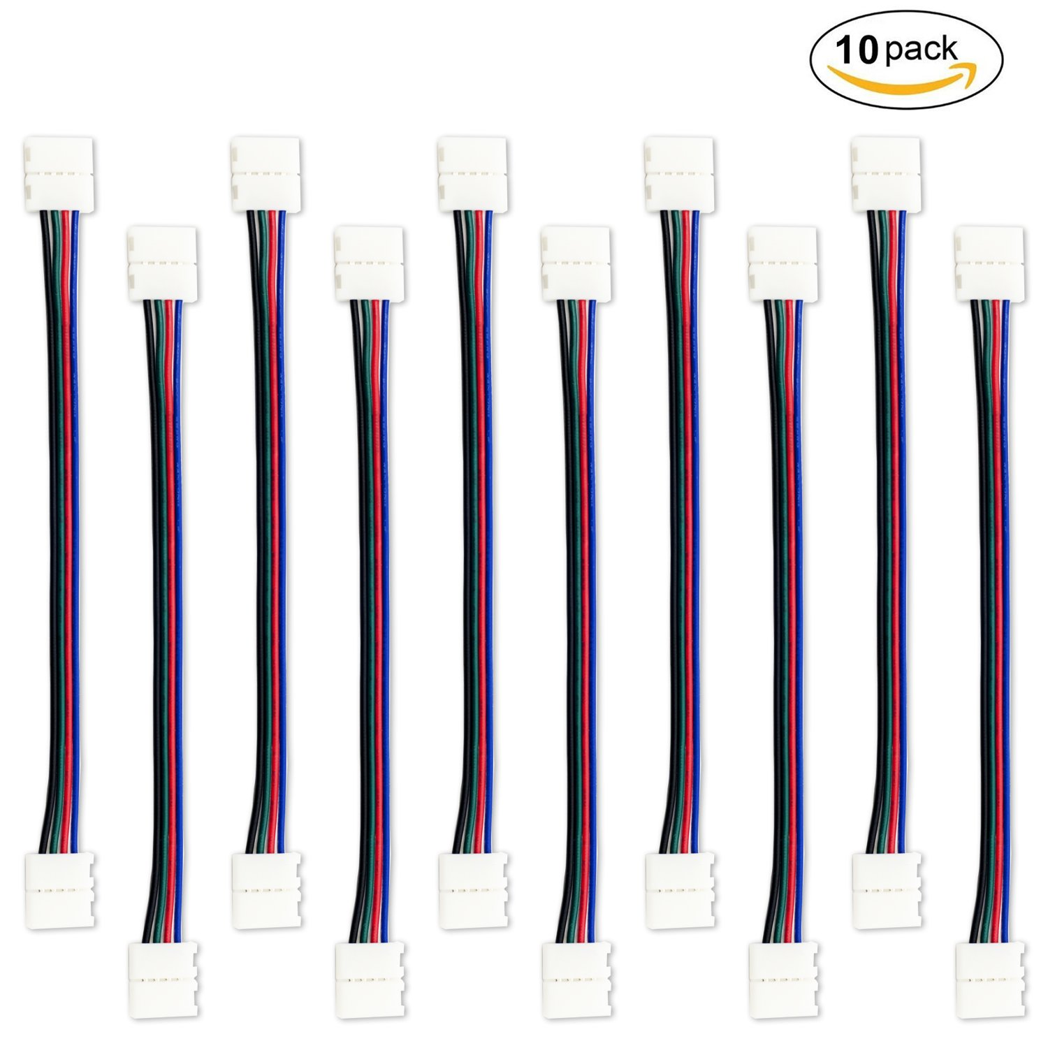 10 PCS 4 Pin 10mm LED Connector for 3528/Non-waterproof SMD 5050 LED Strip Light RGB LED Strip Connector Jumper- 17cm/ 6.7 inch Long