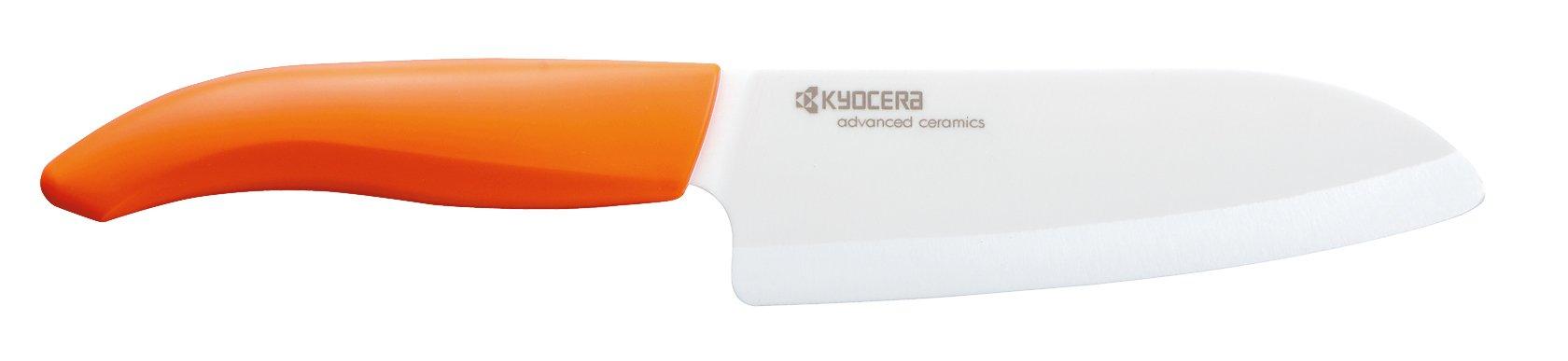 Kyocera Advanced Ceramic Revolution Series 5-1/2-inch Santoku Knife, Orange Handle, White Blade