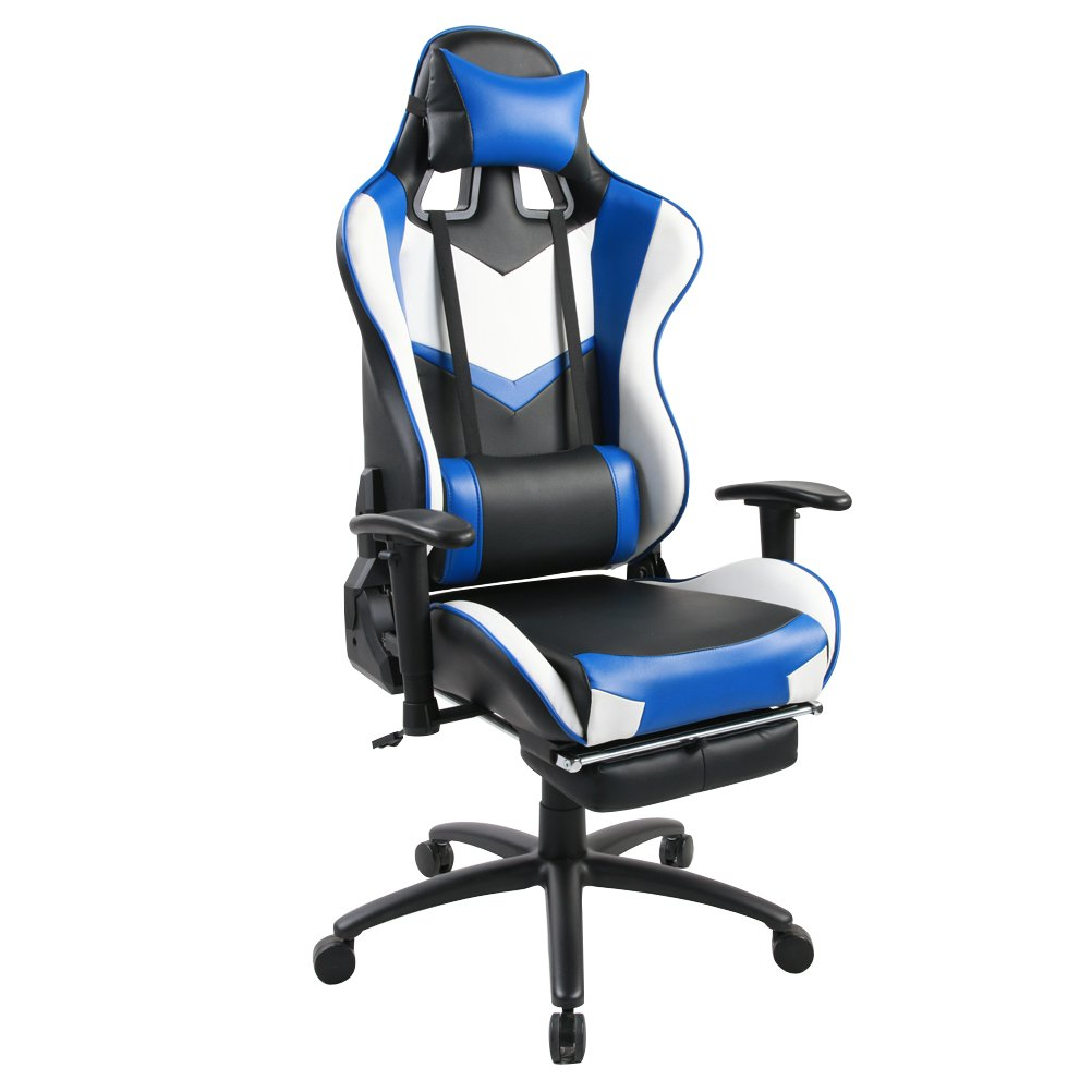 Get Quotations · Ergonomic Racing Gaming Chair Swivel Computer Desk Chair  Office Chair High Back With Adjustable Headrest And