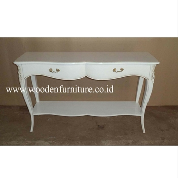 French Provincial Console Table Antique Reproduction Hall Table White  Painted Table Classic Living Room Furniture