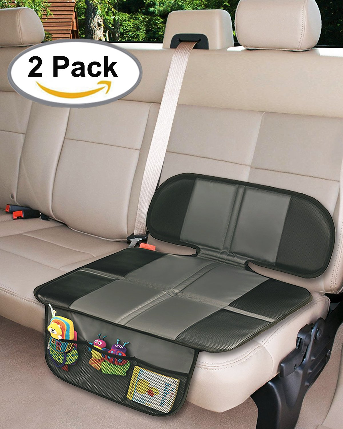Car Seat Protector, 2PC Seat Covers Extra Storage Pocket Thickest Padding Protection for Child & Baby Cars Seats, Dog Mat, Non Slip and Waterproof Protects Automotive Vehicle Upholstery