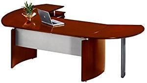 "Mayline Executive Office Desk 107""W X 63""D X 29.5""H Desk 72""W X 36""D Curved Desk Extension 47""W X 28""D Return 63""W X 24""D 1 1/4"" Thick Work Surface W/Distinct Beveled Edges - Sierra Cherry"