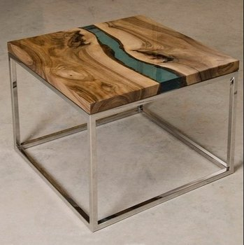 Modern Furniture High Quality Wooden Slab Table Top River Solid Wood Clear Epoxy Resin Reclaimed Dining