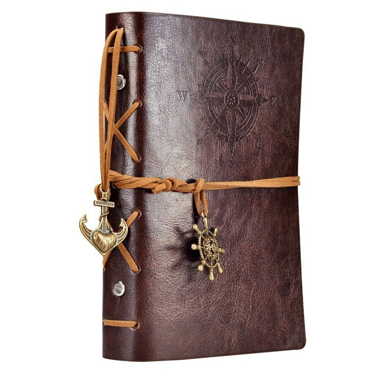 Ai-life Vintage Retro Nautical Pattern PU Leather Cover Notebook Writing Journal Diary, Vintage Spiral Blank Daily Notepad, Unlined Paper, Retro Pendants, Classic Embossed, Loose Leaf