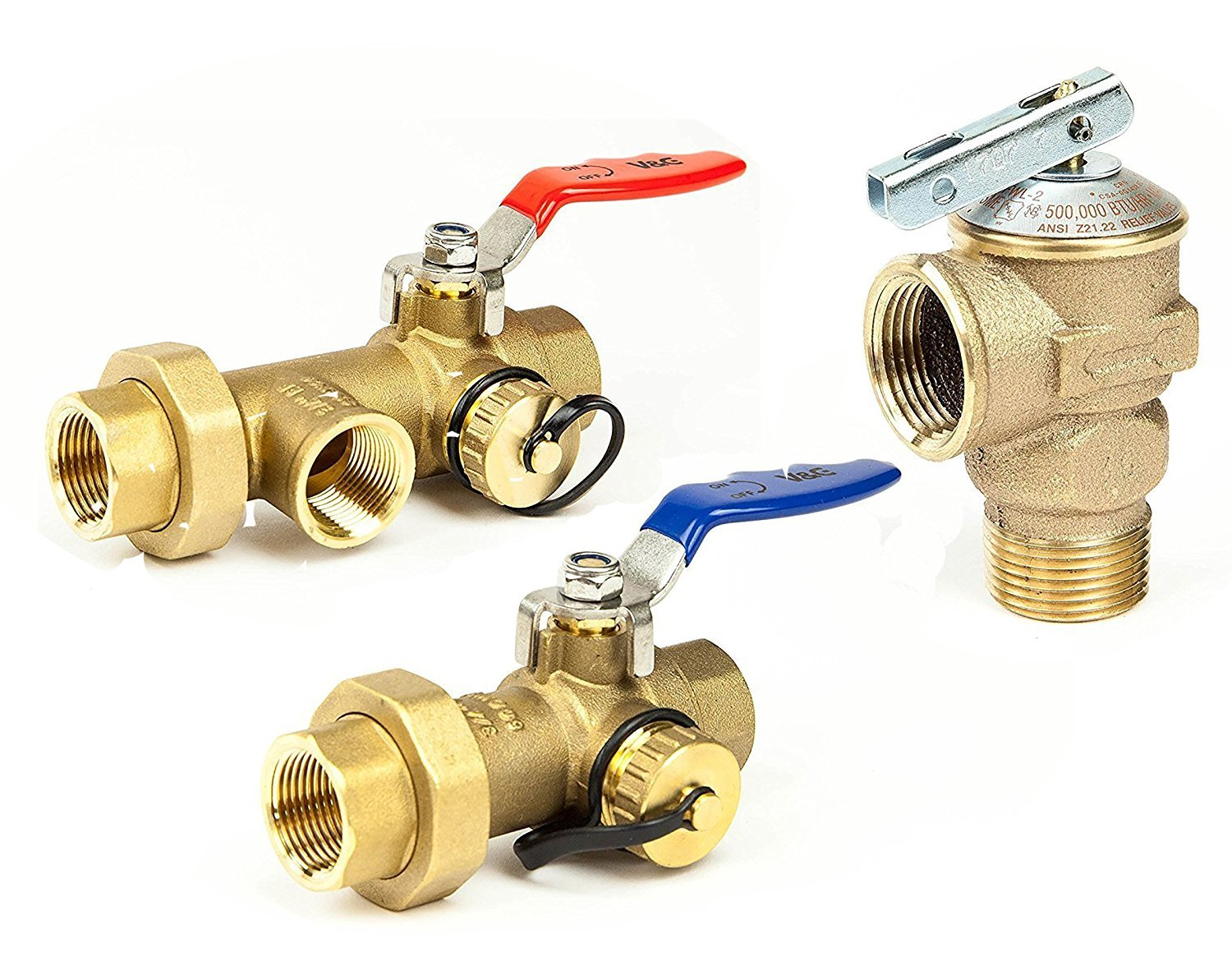 Rheem Tankless Water Heater Isolation Valves Kit With Relief Valve Threaded