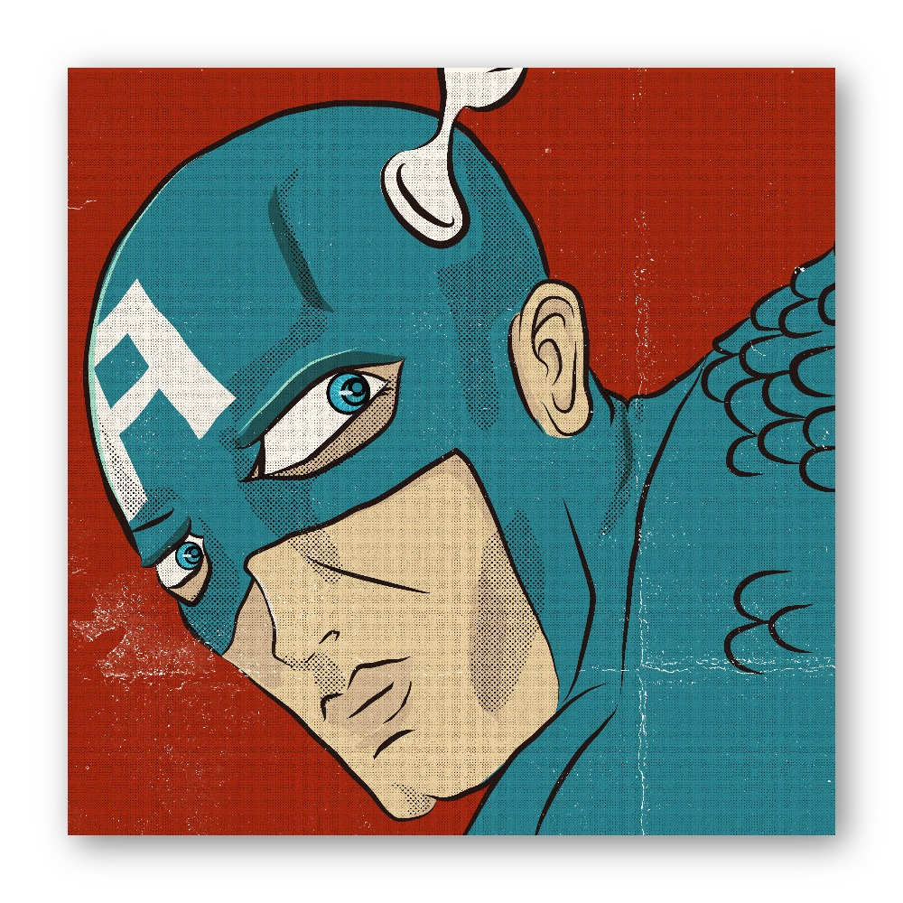 Illustration Captain America Pop Art Printed on Premium Quality Photo Paper
