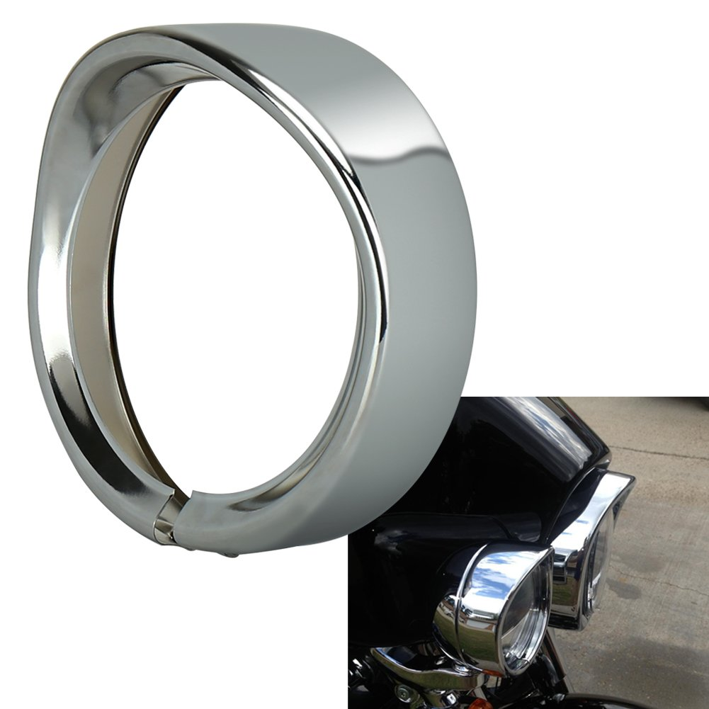 OVOTOR 7inch Harley Davidson Headlight Trim Ring Visor for 94-14 FLHR Touring Electra Glide Motorcycle Chrome Pack of 1