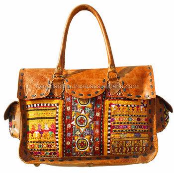 Wonderbaar Handmade Indian Tas Banjara Bordir Kulit. Vintage Bohemian Boho KV-62