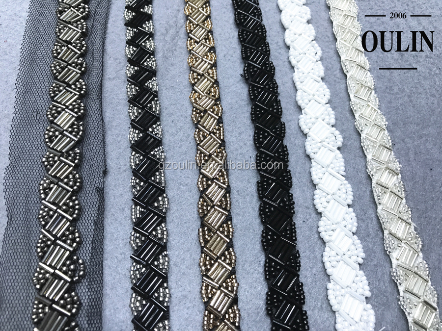 Glass tube beaded lace trim mix design mix color Embroidery glass tube beaded chain lace embroidery beaded chain