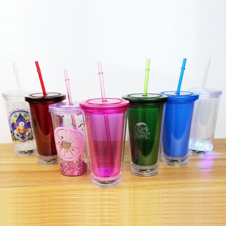 Festival LED Light up double wall plastic tumbler with straw for barware and party plastic cup