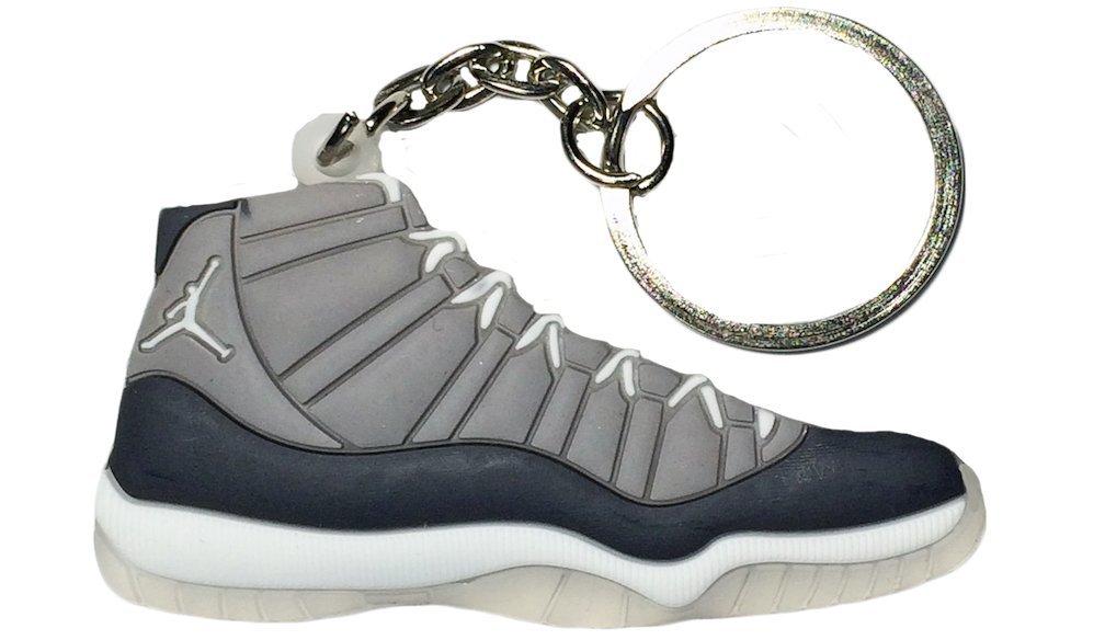 Get Quotations · Nike Jordan 11 XI Cool Grey 2D Flat Sneaker Keychain 1b40a50de