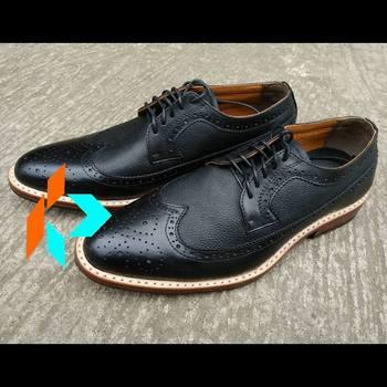 4c6eab29e70 Handmade Bespoke Men Genuine Leather Black Brogue Wingtip Dress Shoes  Customized
