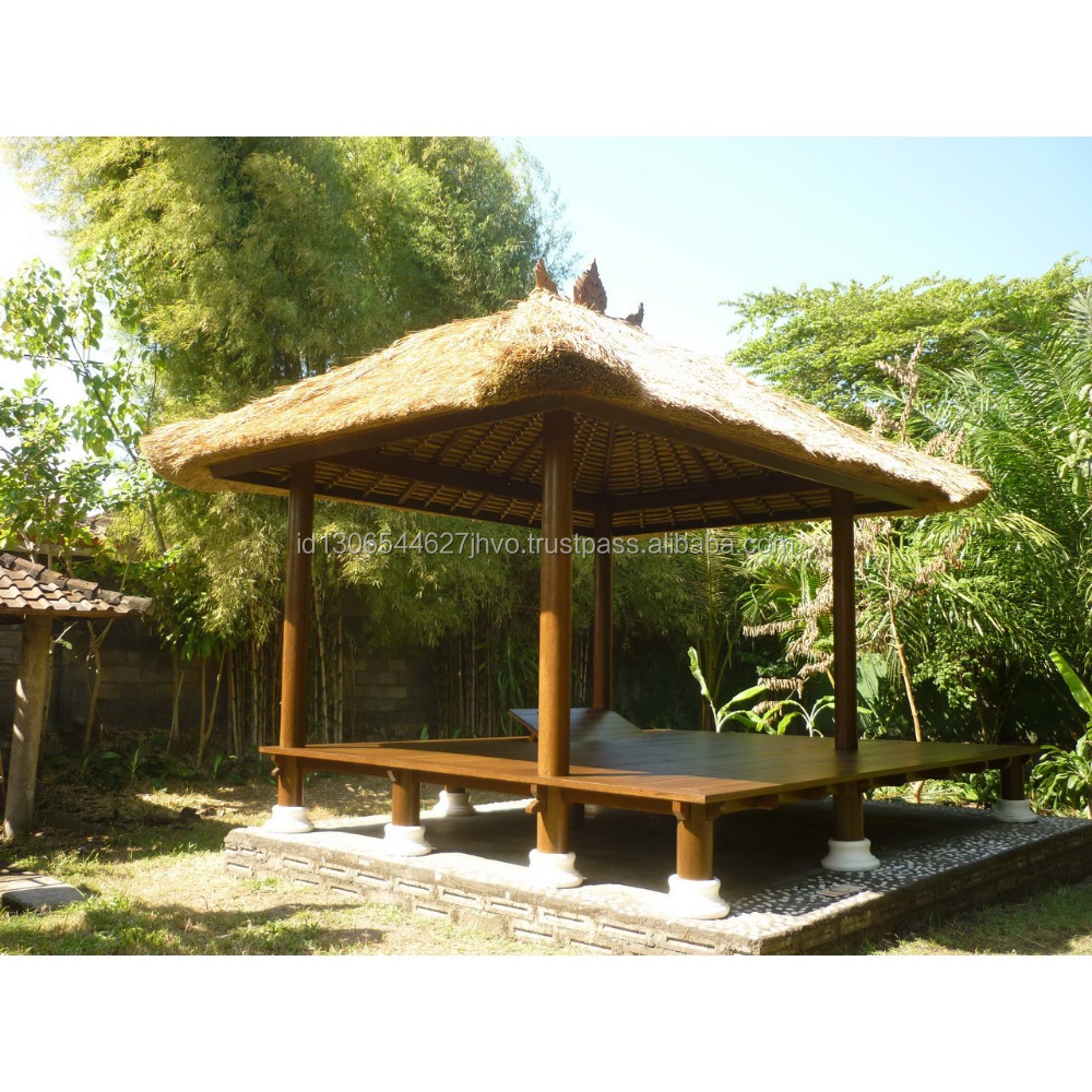 Outdoor Waterproof Garden Gazebo With Thatched Roof Knock Down ...