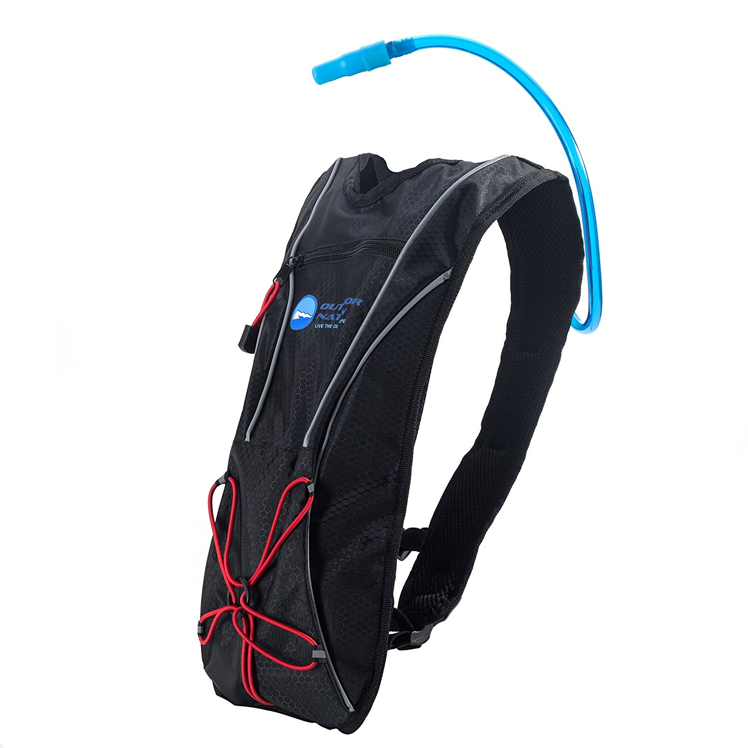 Outdoor Nation Hydration Pack with 1.5 L Water Backpack Bladder. Adjustable Strap Fits Men, Women or Kids. Ideal for Running, Cycling, Bike/hiking, Climbing or Hunting