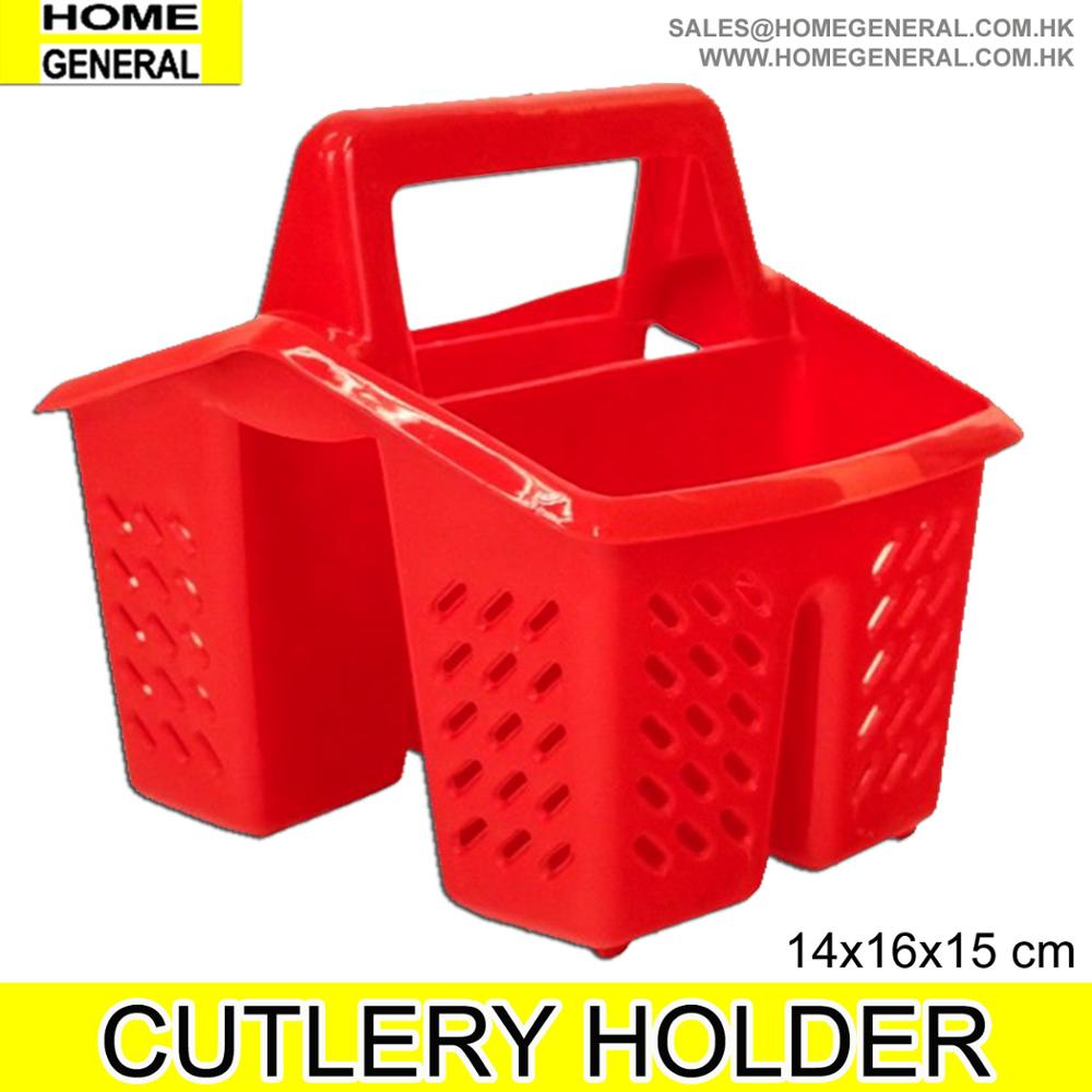 Plastic 4 Compartment Kitchen Sink Tidy Cutlery Drainer Filter Caddy with Handle Red