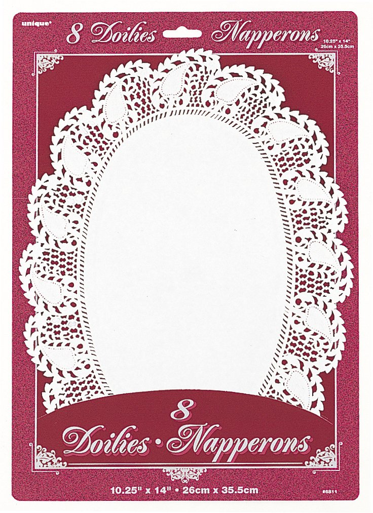 "14"" x 10.25"" Oval White Paper Doilies, 8ct"
